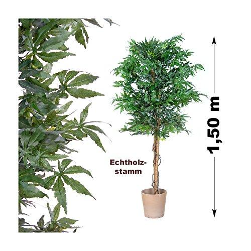 Marihuana Kunstpflanze mit Echtholzstamm Cannabis Pflanze Kunstbaum - 150 cm groß - 3
