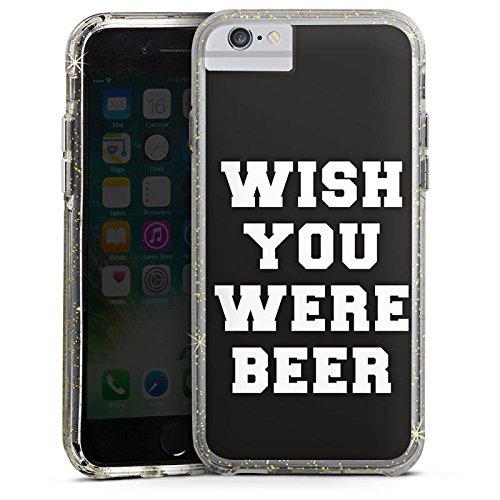 Apple iPhone 6 Plus Bumper Hülle Bumper Case Glitzer Hülle Beer Bier Lustig Bumper Case Glitzer gold