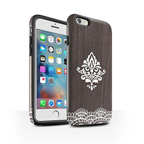 STUFF4 Glanz Harten Stoßfest Hülle / Case für Apple iPhone 6S+/Plus / Schönheit Muster / Fein Spitzenborte Holz Kollektion Zart Damast