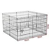 Resistente box per animali domestici, cucciolo di cane, recinzione pieghevole per uso interno ed esterno, 8 lati di larghezza 61 cm (61x91x8)