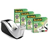Scotch FT510110610 C60 Desk Tape Dispenser - Silver - with 4 Rolls of Scotch Magic Tape - 19 mm x 33 m