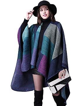 Meiwo Manta de tamaño completo reversible para invierno para mujer Poncho plaid patrón abrigo mantón rayas cárdigan
