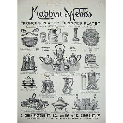 Cuenco De Plata 1897 de la Placa De Cristal de Mappin Webb del Anuncio [Cocina y Hogar]