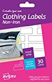 Avery HNI01 Create Your Own Washable Non-Iron Clothing Name Labels - White, Pack of 30
