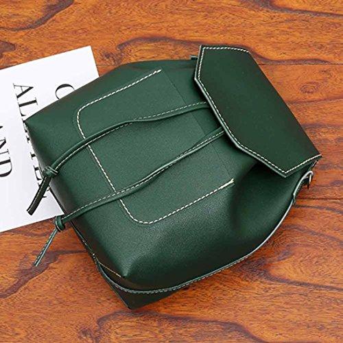 """Longra 27 * 33cm / 10.6 * 13.0 """"Zaino di cuoio di cuoio dell'unità di elaborazione di colore solido delle donne Verde"""
