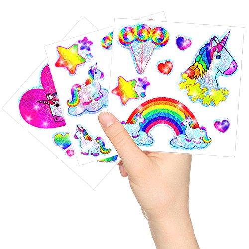 German Trendseller® - Kleine Einhorn Glitzer Sticker Bögen ┃ NEU ┃ Einhorn ┃ Kindergeburtstag ┃ Mitgebsel ┃ Regenbogen ┃ Aufkleber für Kinder ┃ 12 Bögen - 2