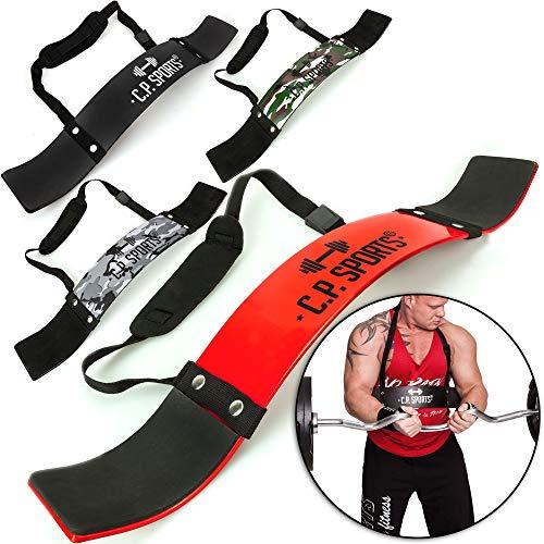 Arm-gurt (C.P. Sports Arm Blaster Bizeps Isolator für Bodybuilding, Kraftsport & Gewichtheben - Bizepstrainer, Trizeps Bomber (Rot))