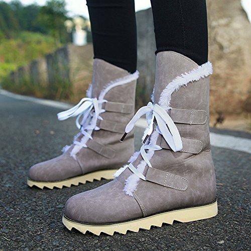 Wealsex Neige Bottes Coton Plat Avec Lacet Femme Tailles 34-43 Gris