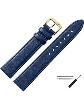 Uhrenarmband 18mm Leder blau, feines echtes Rindleder - Marburger Uhrband inkl. Federstege & Werkzeug - passend...