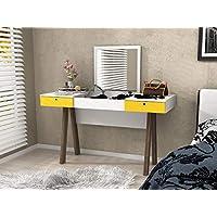 طاولة زينة خشبية من تكنوموبيلي مع درجين ومرآة للسحب، بلون أبيض وأصفر، المقاس: 75.5 سم * 131.5 سم * 52 سم.