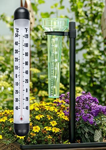 Lifetime Garden Wetterstation 2 in 1 | Wetterset mit Regenmesser und XXL Außenthermometer zur Wandbefestigung | Aus Kunststoff mit Erdspieß | Temperaturmessung und Niederschlagsmessung
