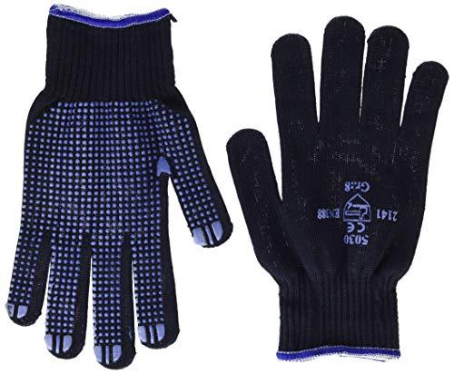 Jah 5030 Baumwolle/Polyester Strickhandschuh 12 Paar Noppen mittelschwer,blau,Gr. 8
