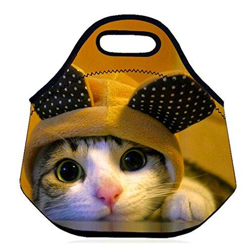 Selric [ Katze im Hut ] Neopren Lunch-Taschen, Isolierkühlvorrichtung Neopren-Mittagessen-Beutel Lebensmittelaufbewahrung, Lunch Tote Picknicktaschen Travel