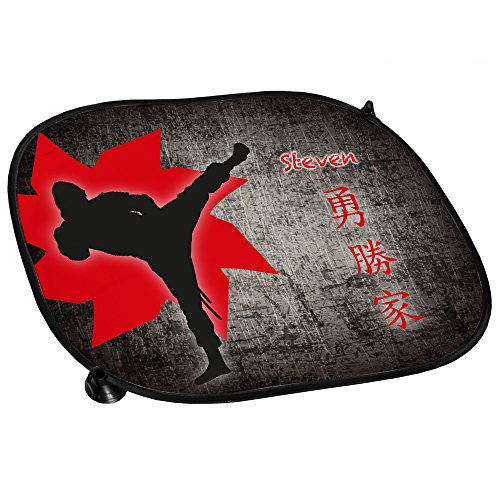 Preisvergleich Produktbild Auto-Sonnenschutz mit Namen Steven und schönem Ninja-Motiv für Jungs - Auto-Blendschutz - Sonnenblende - Sichtschutz
