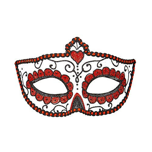 Widmann 03851 Augenmaske Dia de los Muertos, Rot/Weiß, Taglia unica