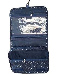 iTher bolsa de cosméticos de Nailon plegables impermeables bolsa de lavado recorrido vacaciones para viaje mujer con Gancho de Colgar