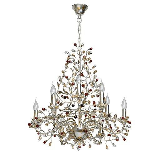 Chiaro 298011609 Pendant Kronleuchter Kerzen Formig mit Blattgold Silber Metall Farbe 9 Flammig Bunte Glass Tropfen für Wohnzimmer Halle 9 x 40W E14