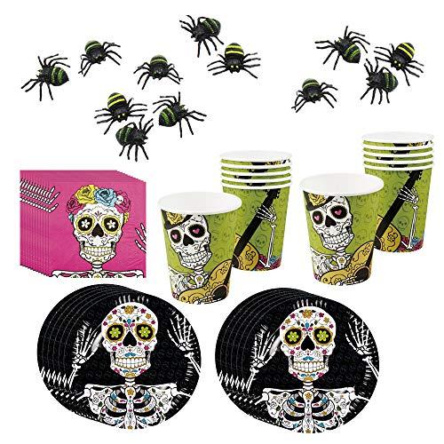 COM-FOUR® 48-teiliges Totenkopf und Piraten Party-Geschirr und Deko-Set für Halloween, Geburtstag und Motto-Party (048-teiliges - Halloweenset)