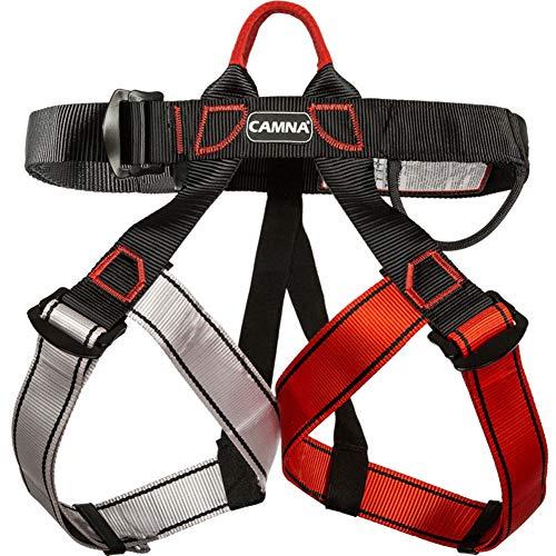 Imbracatura da Arrampicata, Mezza Cintura di Sicurezza Cinture di Sicurezza Arrampicata Sportiva Rappelling Equip Attrezzatura per Alpinismo, Arrampicata su Albero, Salvataggio al Fuoco,Red