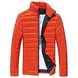 Riou Herren Winterjacke Baumwolle Stehkragen Zipper Warme Winter Dicken Mantel Jacke Übergangsjacke Steppjacke,Männerjacke Daunenjacke Windjacke Für Männer (2XL, Orange)