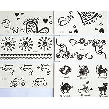 GGSELL GGSELL diseño de moda venta caliente tatuajes temporales pegatinas combinación, 6piezas/paquete diseños diferentes, incluye flores/sol/corazón/Inglés Carta/animales/vaca/SCORPION/perro/caballo/Lion/pescado/etc.