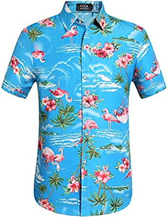 SSLR Men's Flamingos Casual Short Sleeve Aloha Hawaiian Shirt (Small, Blue)
