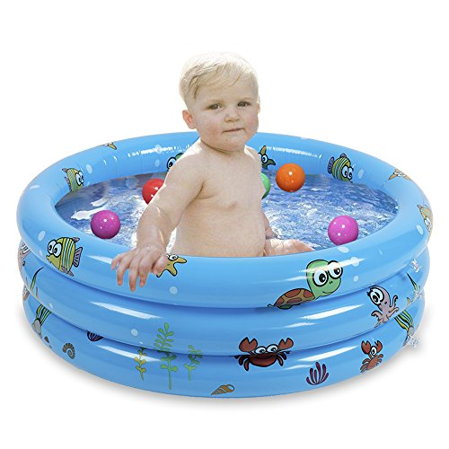 rer Planschbecken, langlebiges Baby-Badebad, Schwimmbecken, faltbar, Ball, Pool Spaß, Hinterhof, Spielzeug für Kinder, PVC, blau, 80 cm ()