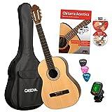 CASCHA HH 2043 IT Guitare Classique 4/4 Bundle, mat naturel, table épicéa, avec livre de guitare en espagnol, CD, DVD, accordeur, sac rembourré et 3 médiators