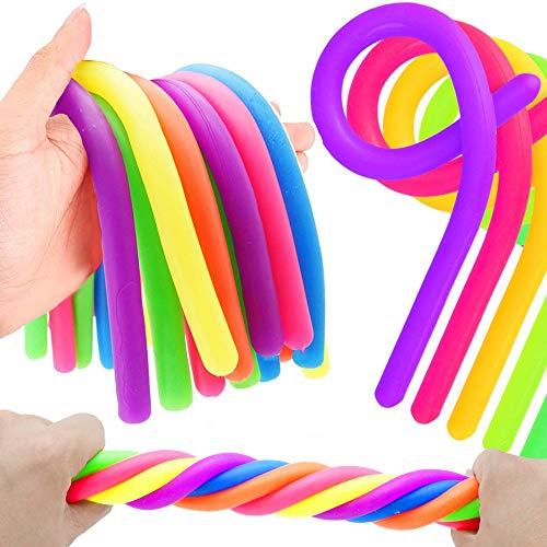 German Trendseller® - 6 x Ultra - Sticky Neon Sling für Kinder ┃ Kindergeburtstag ┃ Mitgebsel ┃ Stretchy Noodles ┃ 6 Stück Gummi Neon