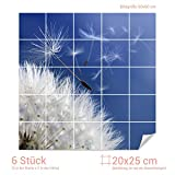 Graz Design 765360_20x25_60 Fliesenaufkleber Pusteblume für Kacheln | Wand-Deko für Bad/Küchen-Fliesen (Fliesenmaß: 20x25cm (BxH)//Bild: 60x60cm (BxH))