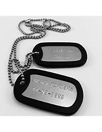 Chapas Militares Personalizadas Grabadas en Relieve / Juego de 2 Chapas y Cadenas de Acero inoxidable + Gomas Silenciadores Negros - Collar de identificación Personalizable tipo Ejército Americano USA