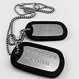 Chapas Militares Personalizadas Grabadas en Relieve / Juego de 2 Chapas y Cadenas de Acero...