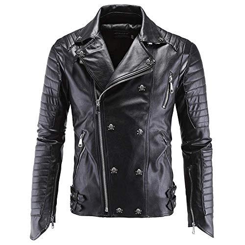 Giacca da uomo casual, giacca da motociclista autunno inverno capispalla zipper cappotto da motociclista in pelle morbida maschio nero di alta qualità (colore: nero, taglia: xl)