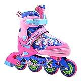 Patines en línea coloridos con Luces para niños y adultos - Talla ajustable - Rosa/Azul - Talla S...