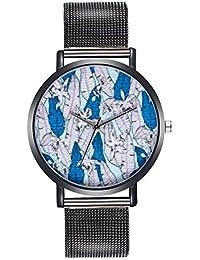 Kinlene Moda de lujo dama reloj de acero inoxidable analogico reloj de pulsera de cuarzo Regalo bordado (black)