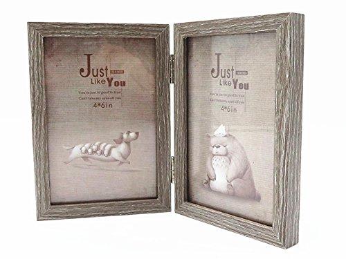 Zwei 2 Holz (Smiling Art Bilderrahmen aus Holz für 2 Fotos, Doppelrahmen, klappbar (Grau, 2x10x15 cm))