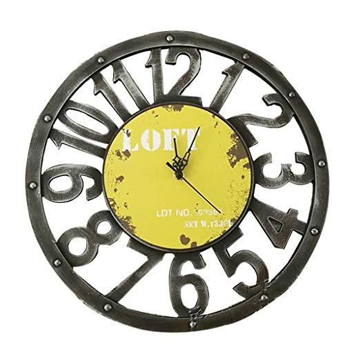 Jaune Sheet Size : 12 inch Horloges murales de style art de fer simple de 12 pouces for la décoration intérieure Horloge murale bref horloges silencieuses modernes
