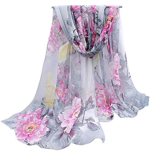 - 51Zw9eJ2mbL - OUKIN Fashion Lady Women Floral Print Sheer Chiffon Soft Long Silk Scarf Scarves Sheer Wrap Shawl