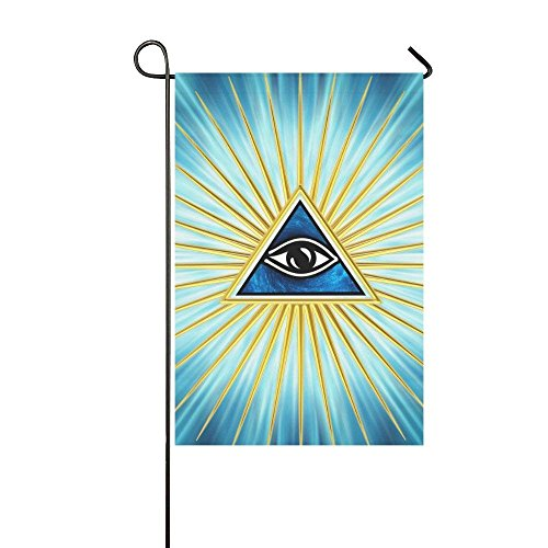 Eye of Providence Polyester Garden Flag House Banner, Egyptian Horus All Seeing Eye of God Decorative Flag for Party Yard Home Outdoor Decor 12.5x18 inches
