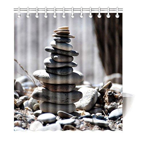 Preisvergleich Produktbild Violetpos Duschvorhang Stein Grau Hochwertige Qualität Badezimmer 180 x 200 cm