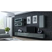 suchergebnis auf f r wohnwand hochglanz grau. Black Bedroom Furniture Sets. Home Design Ideas