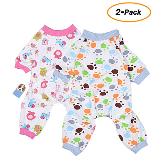 df8789238 2-Pack Dog Clothes Dogs Cats Onesie Soft Dog Pajamas Cotton Puppy Rompers  Pet Jumpsuits