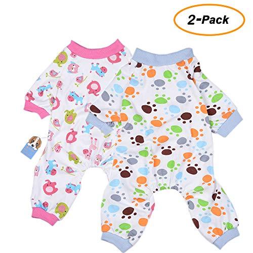 Tag Medicale Kostüm - 2er Pack Hund Kleidung Hunde Katzen Einteiler weich Hund Schlafanzug Baumwolle Puppy Strampelanzug Pet Jumpsuits Cozy Bodys für kleine Hunde und Katzen von hongyh