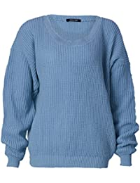 mymixtrendz–Femme plain Chunky Knit Grande Taille à manches longues pull tricot pour Pull Top