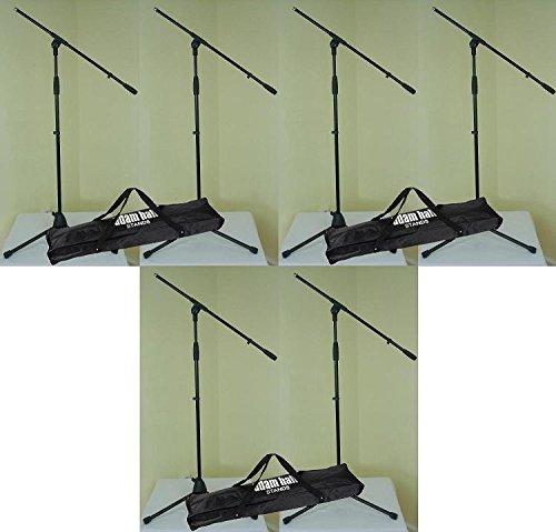 6 x Adam Hall S 5 BE - Mikrofon-Ständer mit Schwenkarm / Galgen & 3 x Transport-Tasche - Mikrofon-Stativ Dreibein schwarz S5BE + SMICBAG