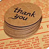 50pcs Thank you Kraft Paper Gift Tags Wedding Doorplate Scallop Favour Luggage Brown