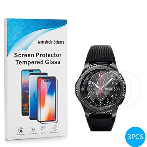 Weinstock-Science | 3X bruchsicheres Panzerglas für Samsung Galaxy Gear S3| Schutzfolie aus 9H Echt Glas