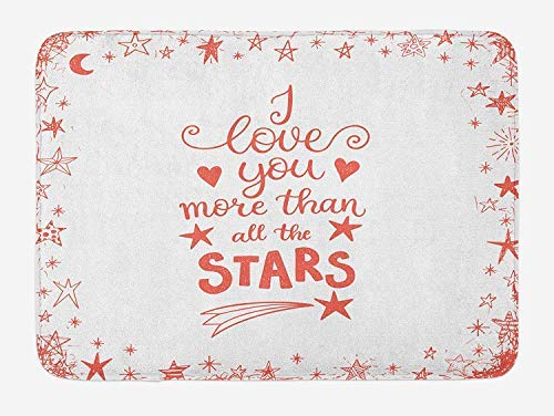 PdGAmats I Love You More Bath Mat, Quote of Infatuation Surrounded by Stars Scribble Art for Valentines 23.6 W X 15.7W Inches