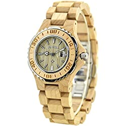 BEWELL Woman Quartz Watch for Girl 30M Waterproof Wood Wristwatch Analog Date Display