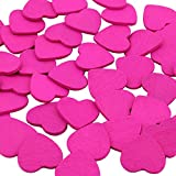 DEKOWEAR Herzen mit Klebepunkt 50 Stück Zum dekorieren aus Holz, 18 mm als Liebesbeweis in Herz Form - Handgearbeiteter Glücksbringer Pink